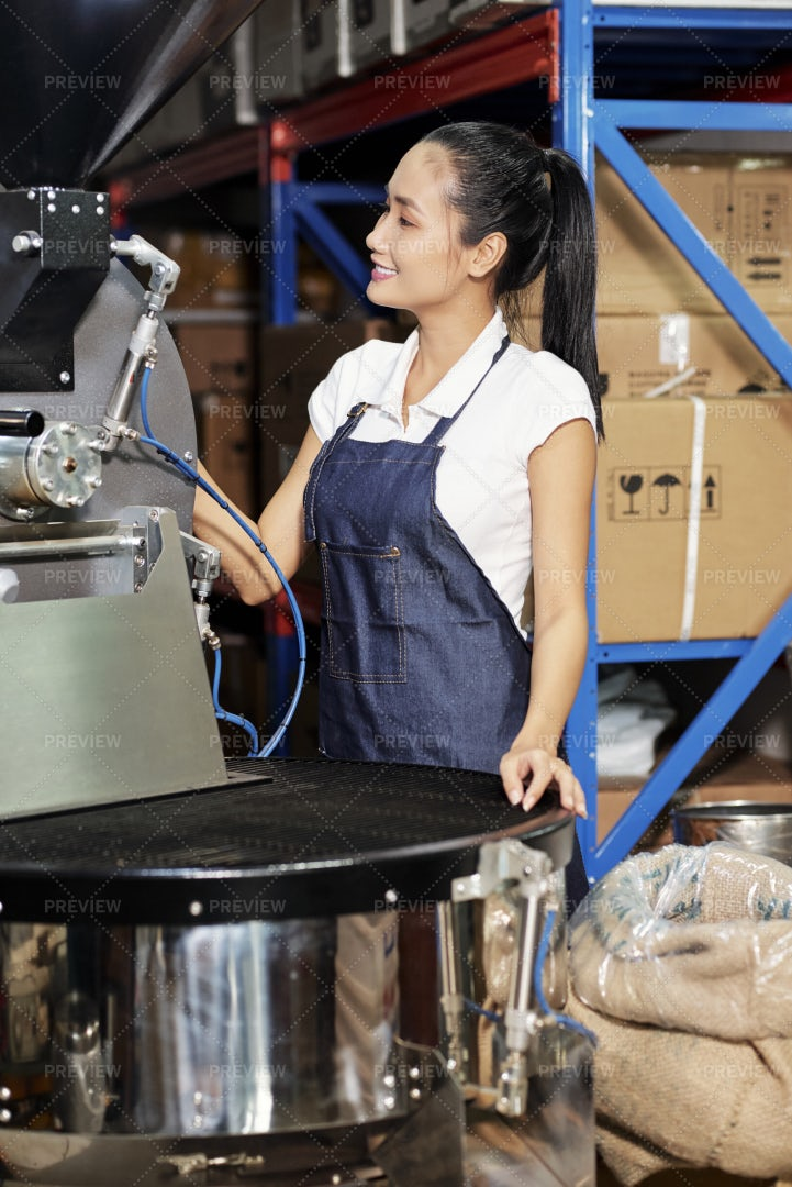 Female Operator On Coffee Factory: Stock Photos