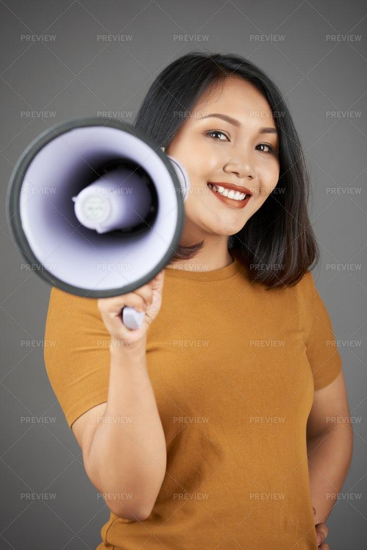 Woman Holding Megaphone: Stock Photos