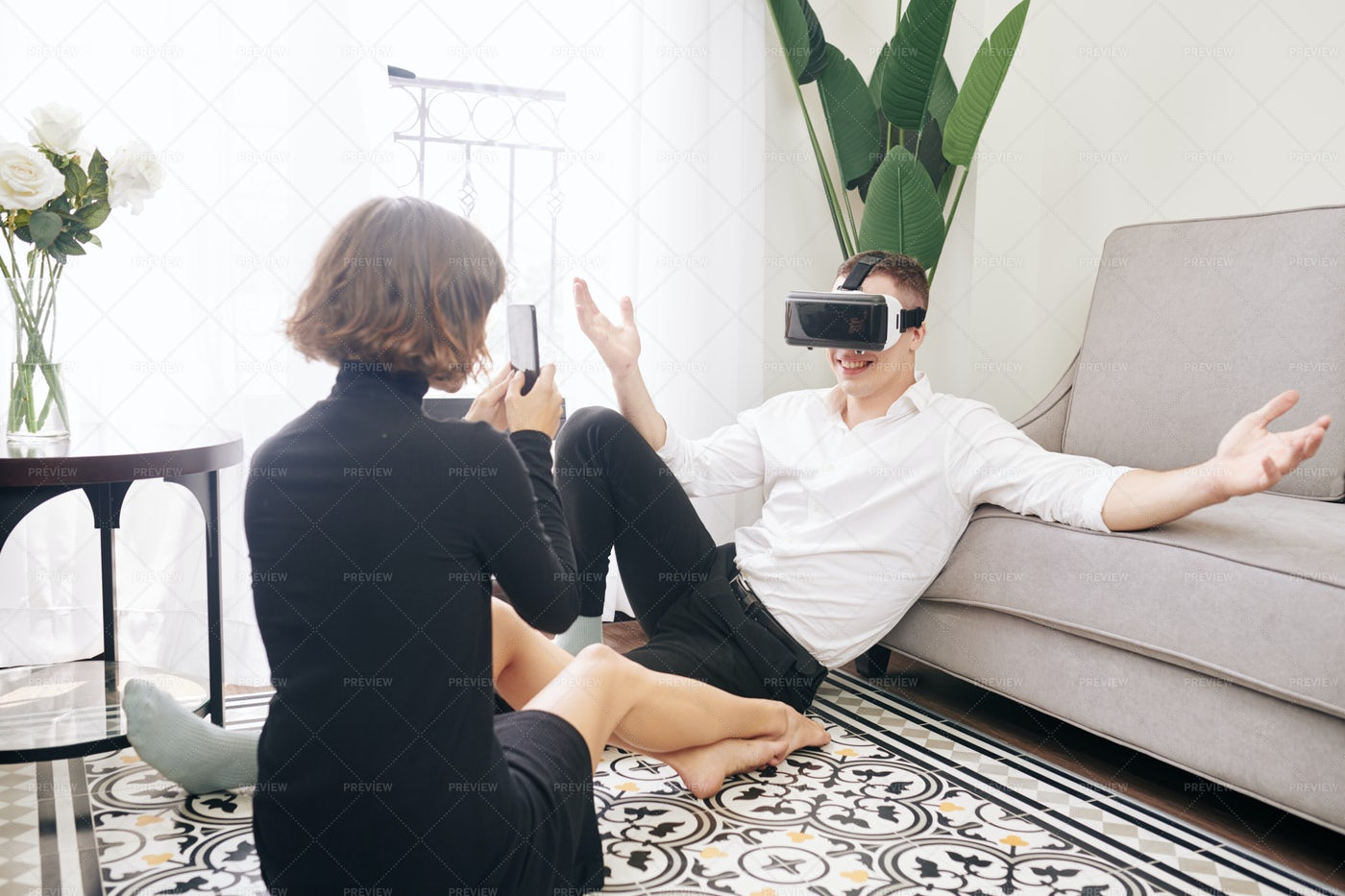 Couple Photographing With VR Glasses: Stock Photos