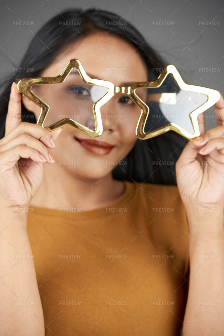 Woman In Stylish Glasses: Stock Photos