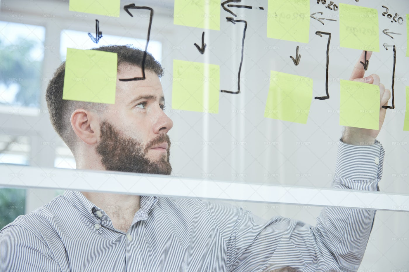 Business Strategy On Notes: Stock Photos