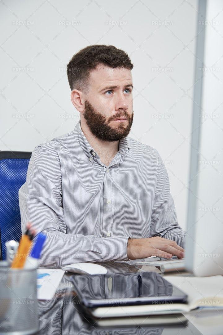 Businessman Using Computer In Work: Stock Photos