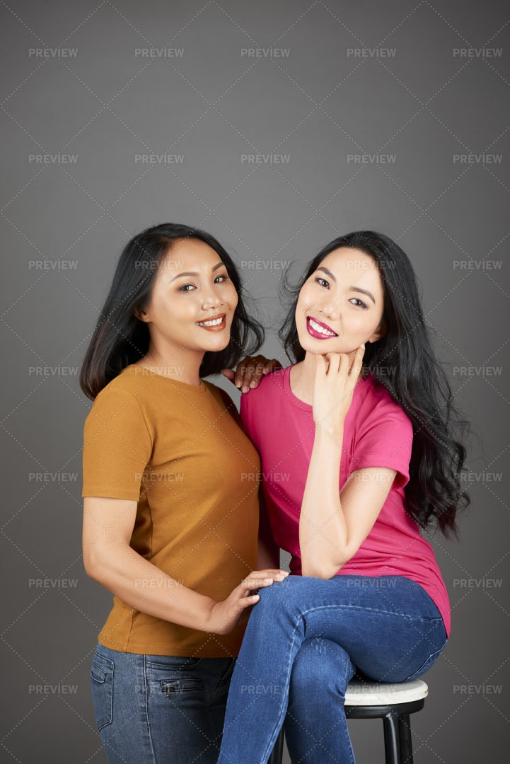 Two Sisters Portrait: Stock Photos