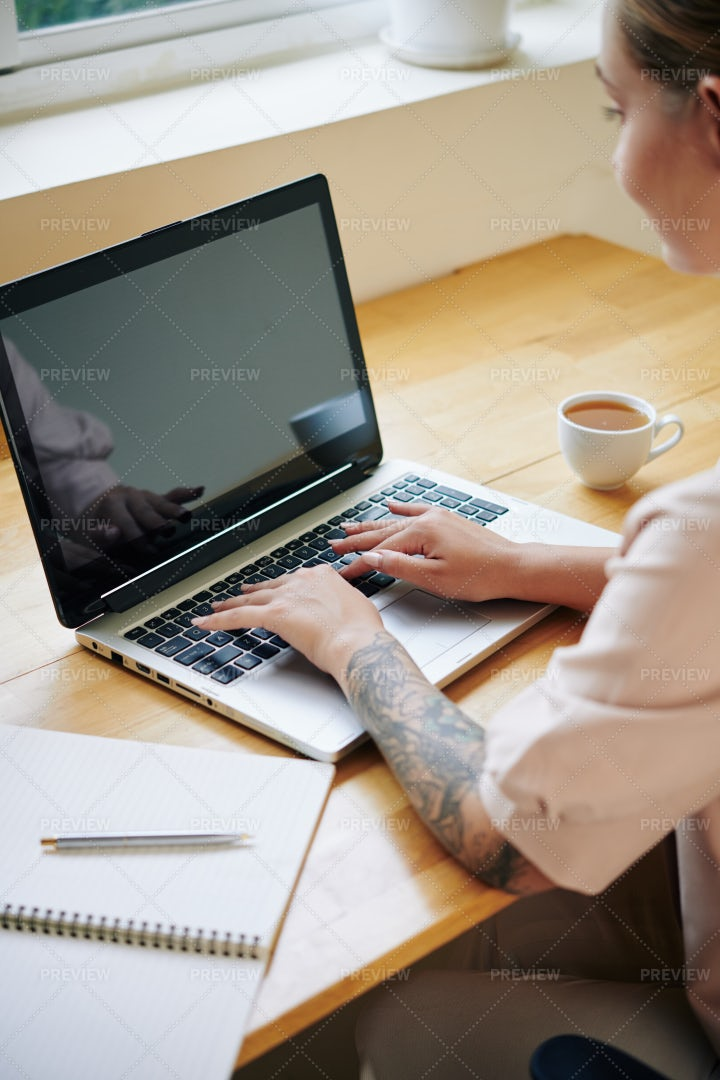Creative Woman Working On Laptop: Stock Photos