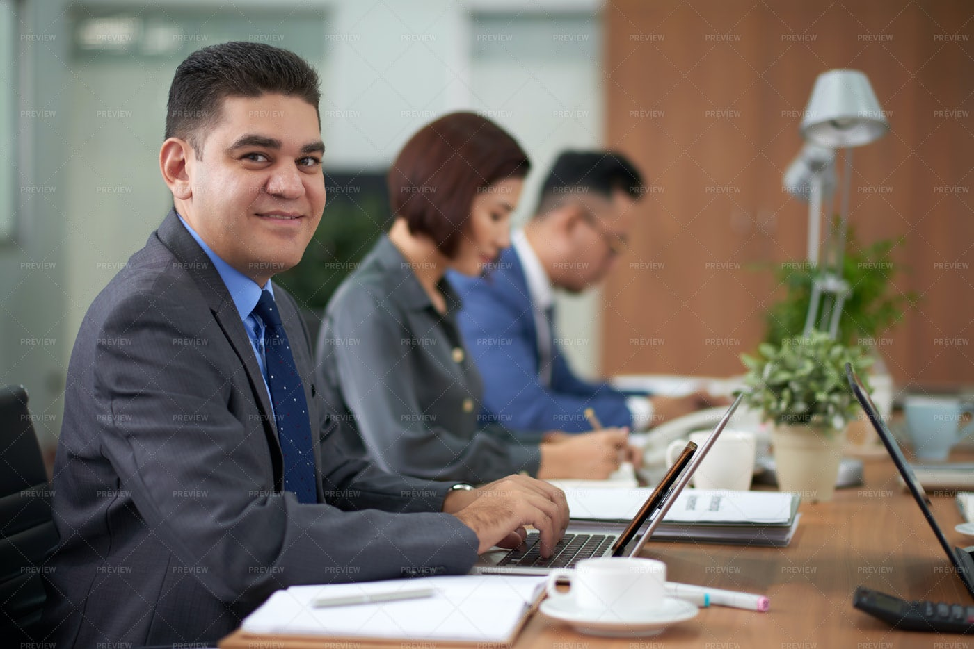 Businessman Sitting At Business Meeting: Stock Photos