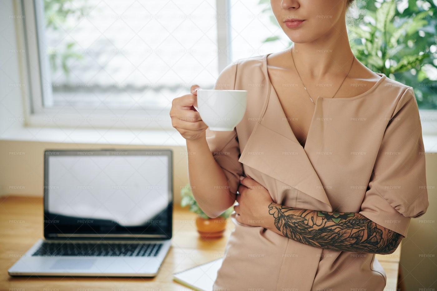 Woman Drinking Cup Of Tea: Stock Photos