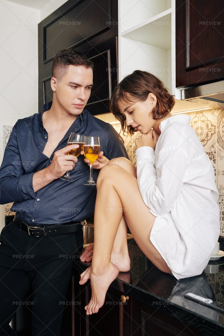 Sensual Couple Drinking Wine: Stock Photos