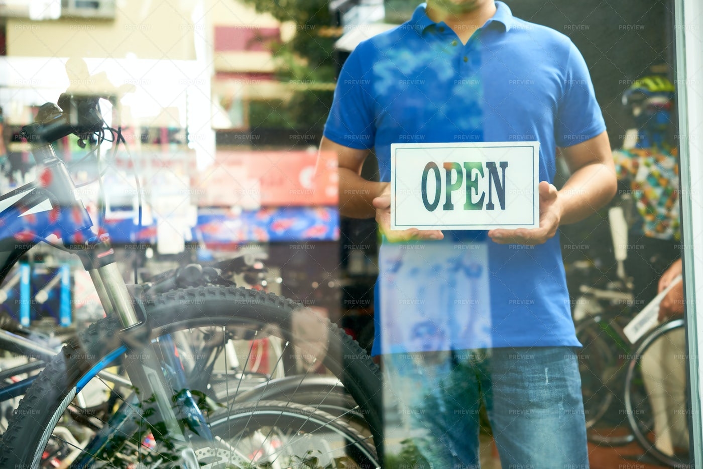 Opening Bicycle Store: Stock Photos