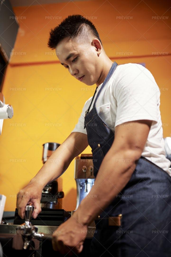 Waiter Making An Espresso: Stock Photos