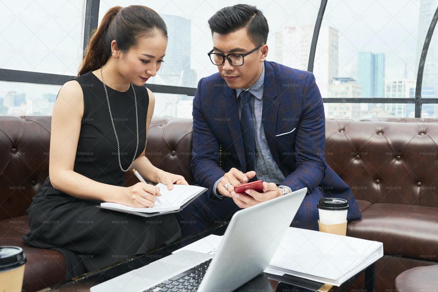 Discussing Company Development Plan: Stock Photos