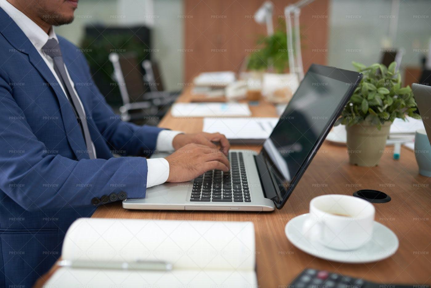 Businessman Working On Laptop Computer: Stock Photos