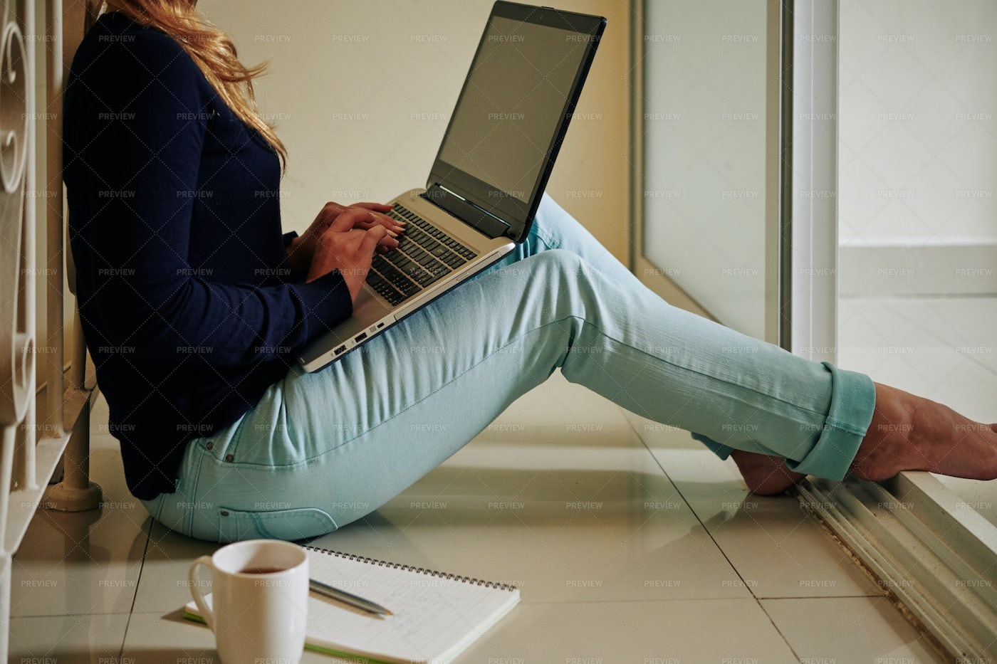 Woman Sitting On Floor With Laptop: Stock Photos