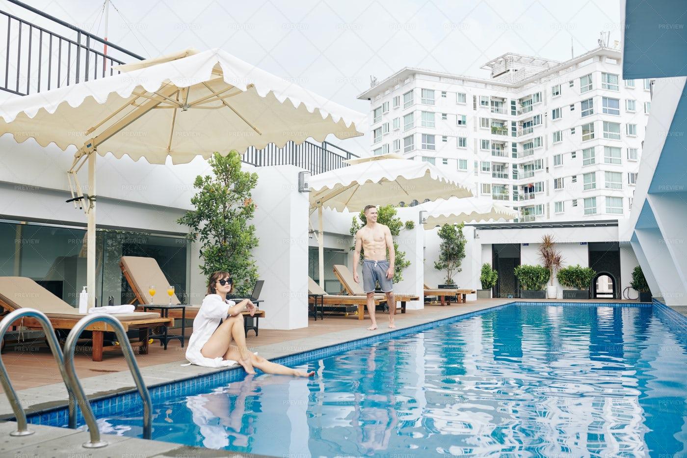 Yuong Couple At Spa Resort: Stock Photos