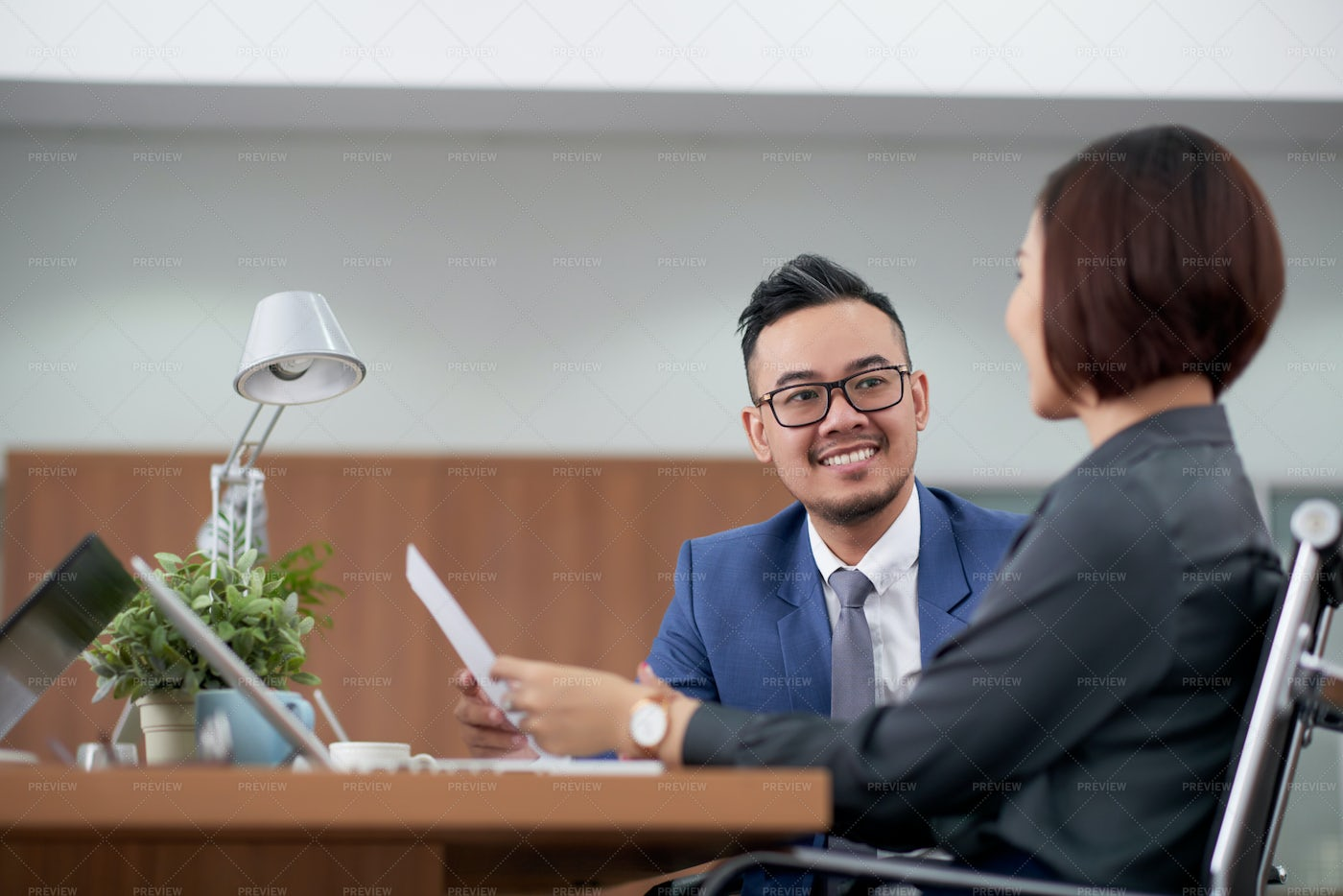 Business Colleagues Talking To Each: Stock Photos