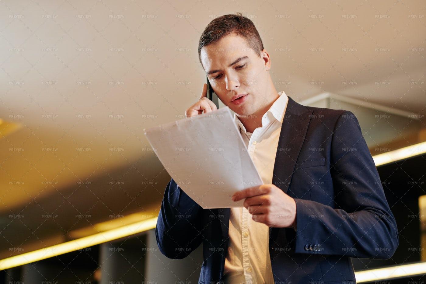 Businessman Calling On Phone: Stock Photos