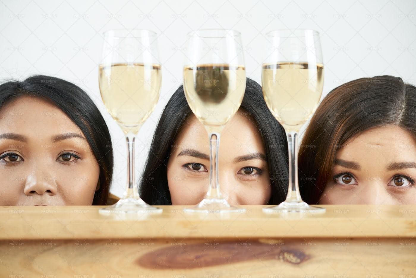 Multiracial Women Drinking Wine: Stock Photos