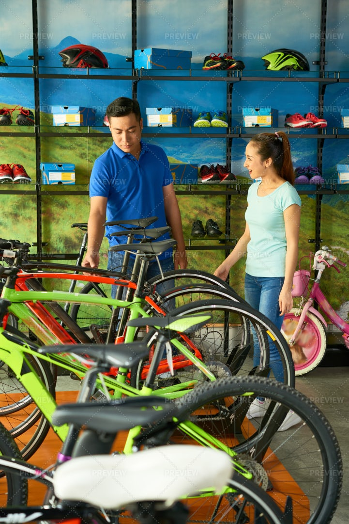 Shopping For Bicycle: Stock Photos