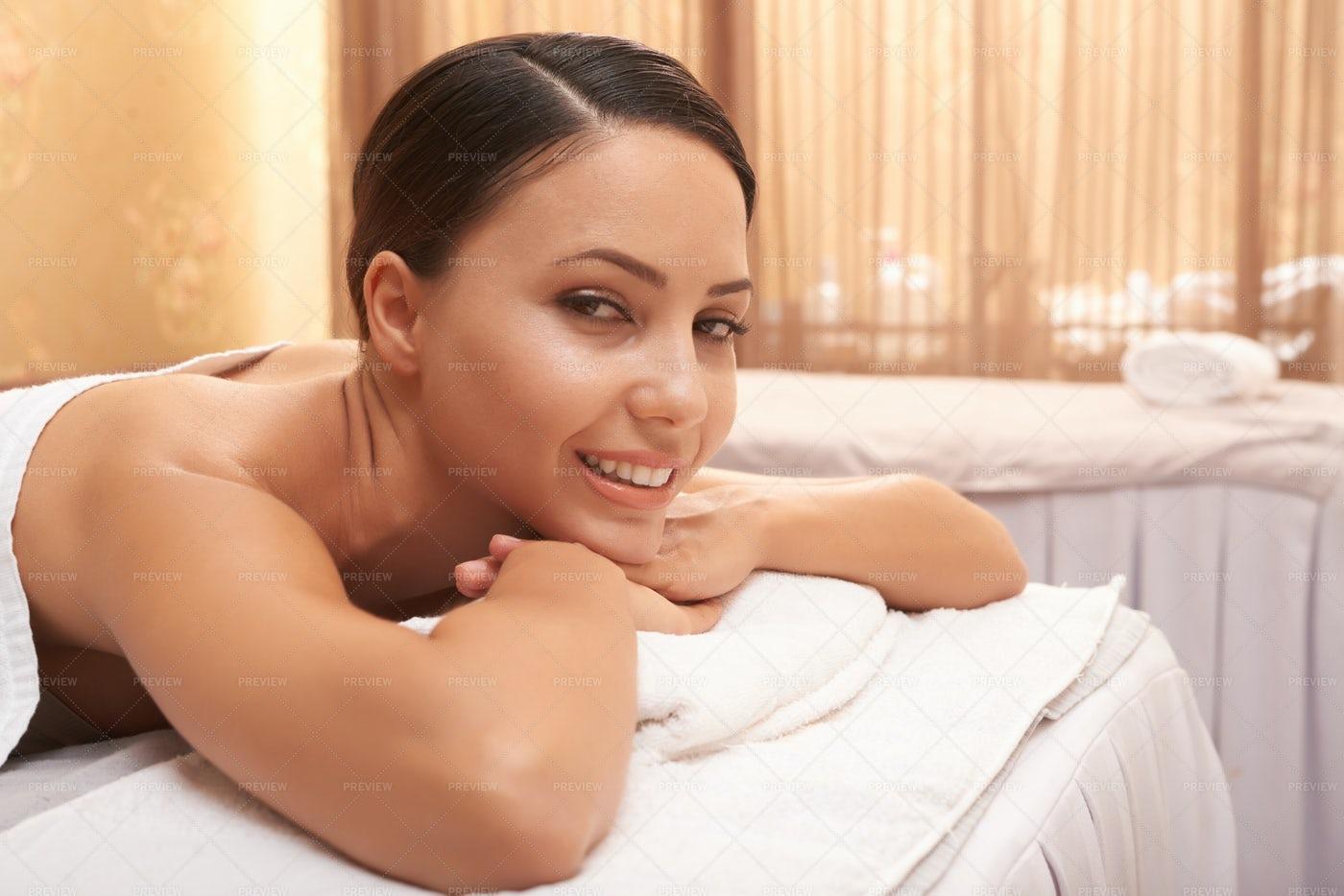 Asian Woman Relaxing At Spa: Stock Photos