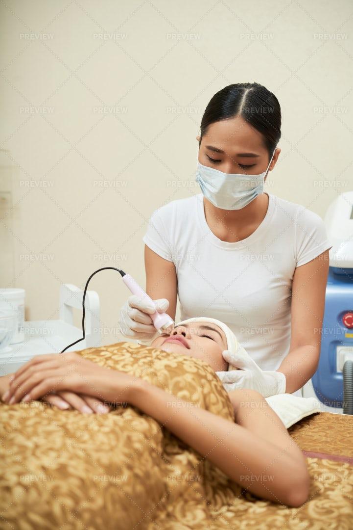 Cosmetological Procedure For Face: Stock Photos