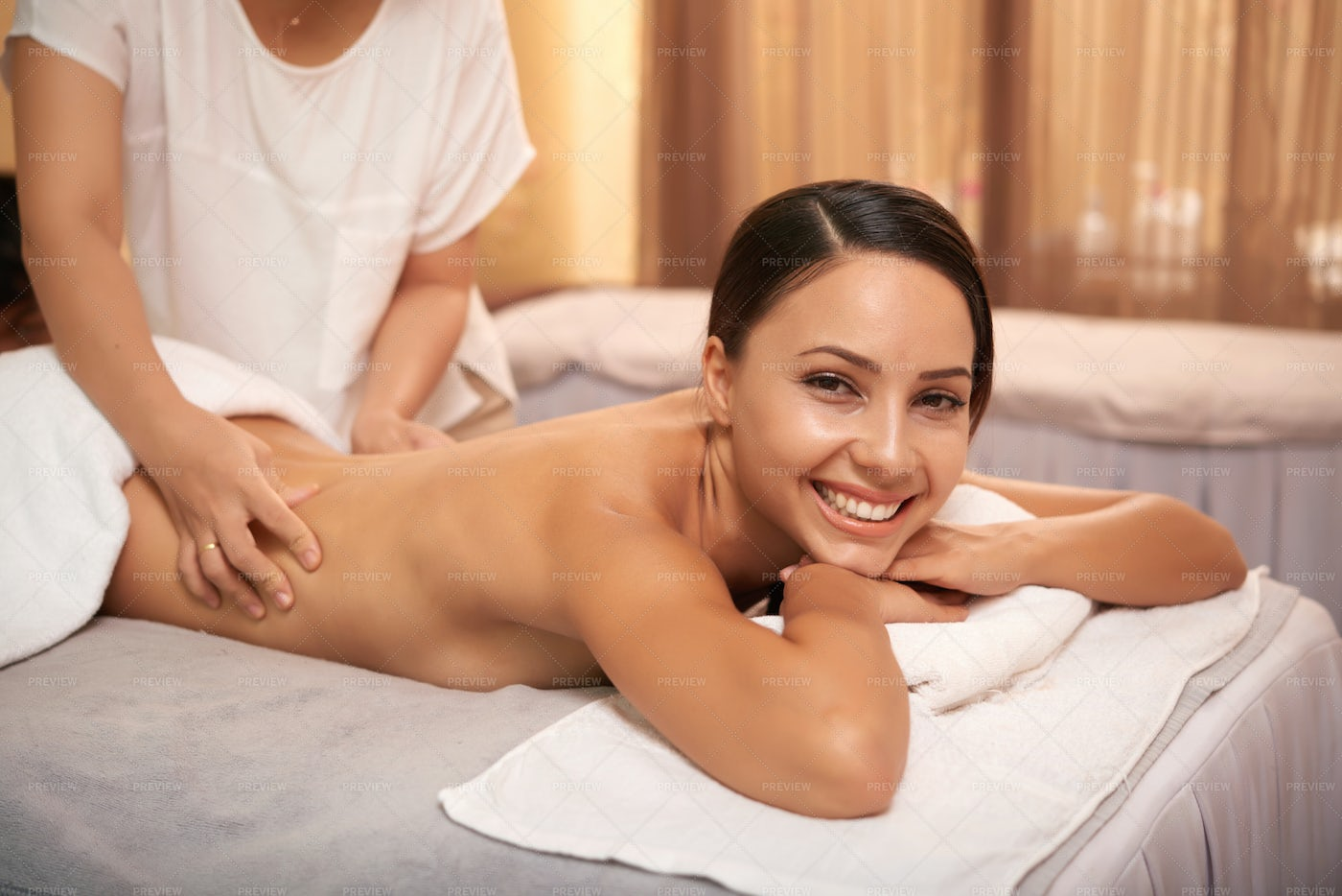 Woman Getting Massage For Her Back: Stock Photos