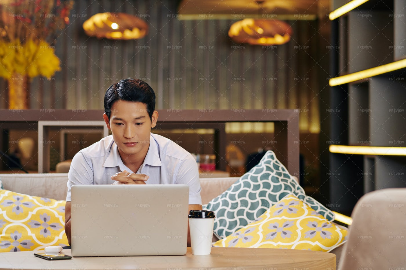 Pensive Businessman With Opened Laptop: Stock Photos