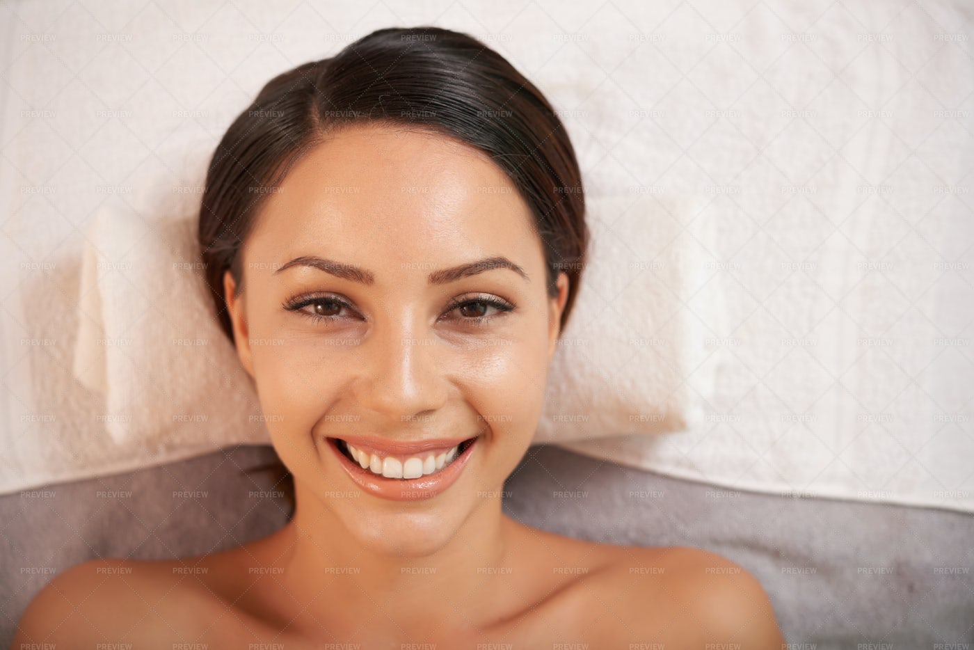 Happy Asian Woman In Beauty Salon: Stock Photos