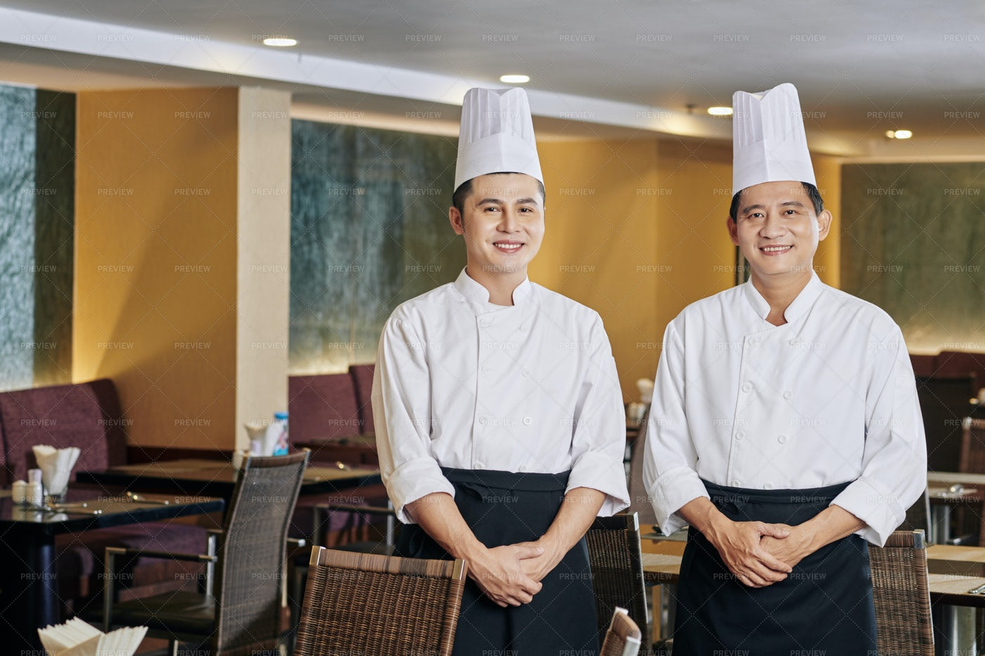 Two Chefs In Cafe: Stock Photos