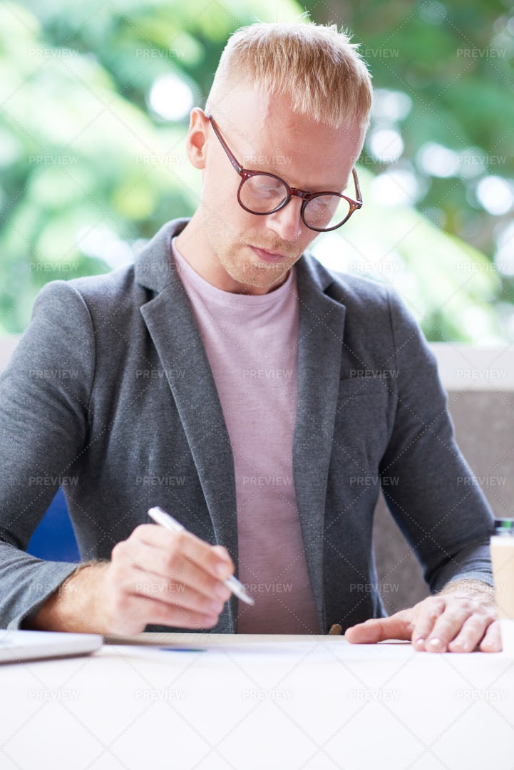 Businessman Working On Project: Stock Photos