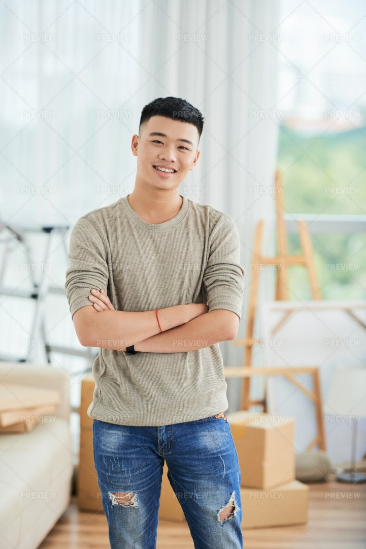 Asian Man At Home: Stock Photos