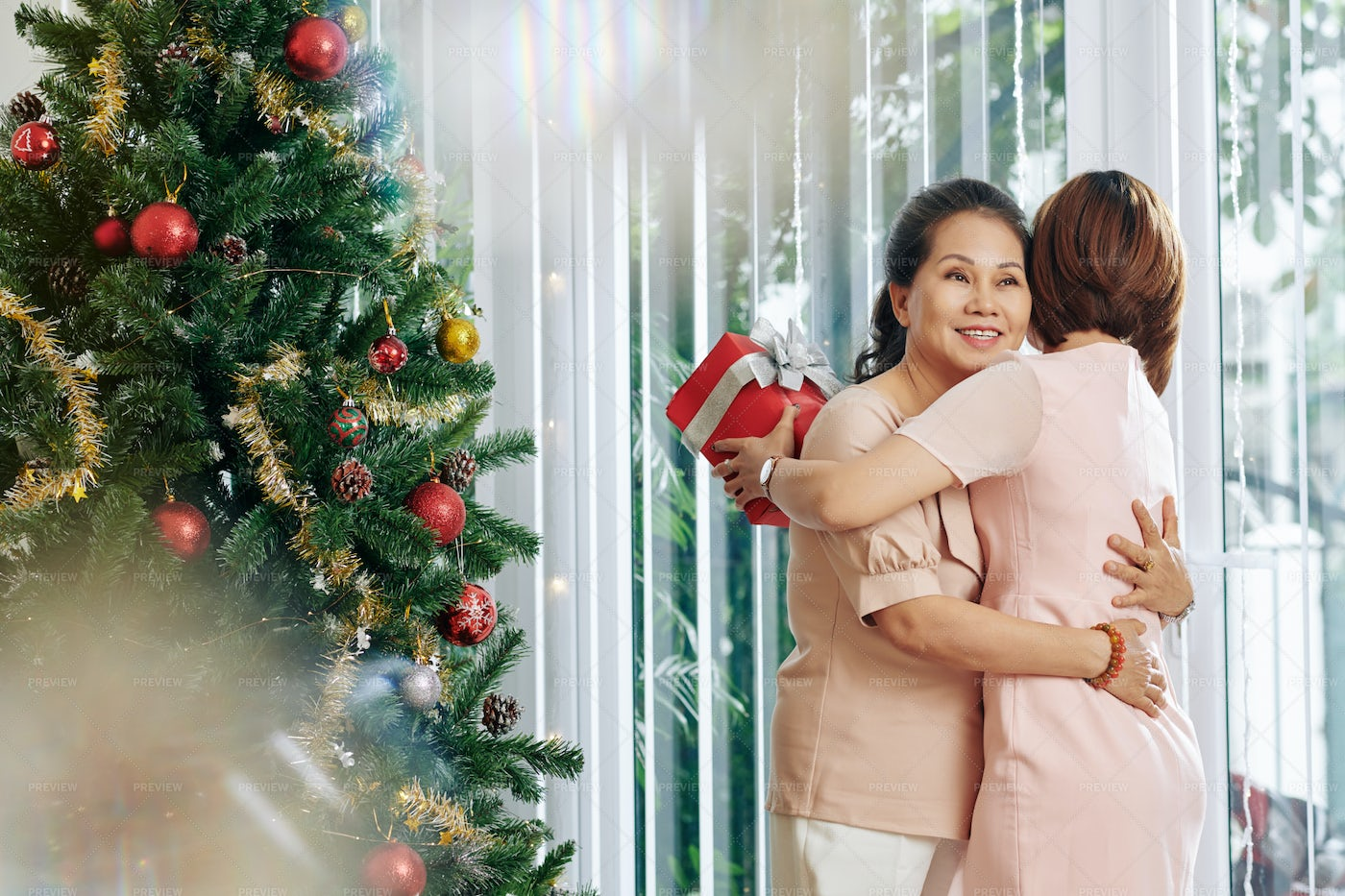 Mother And Daughter On Christmas: Stock Photos