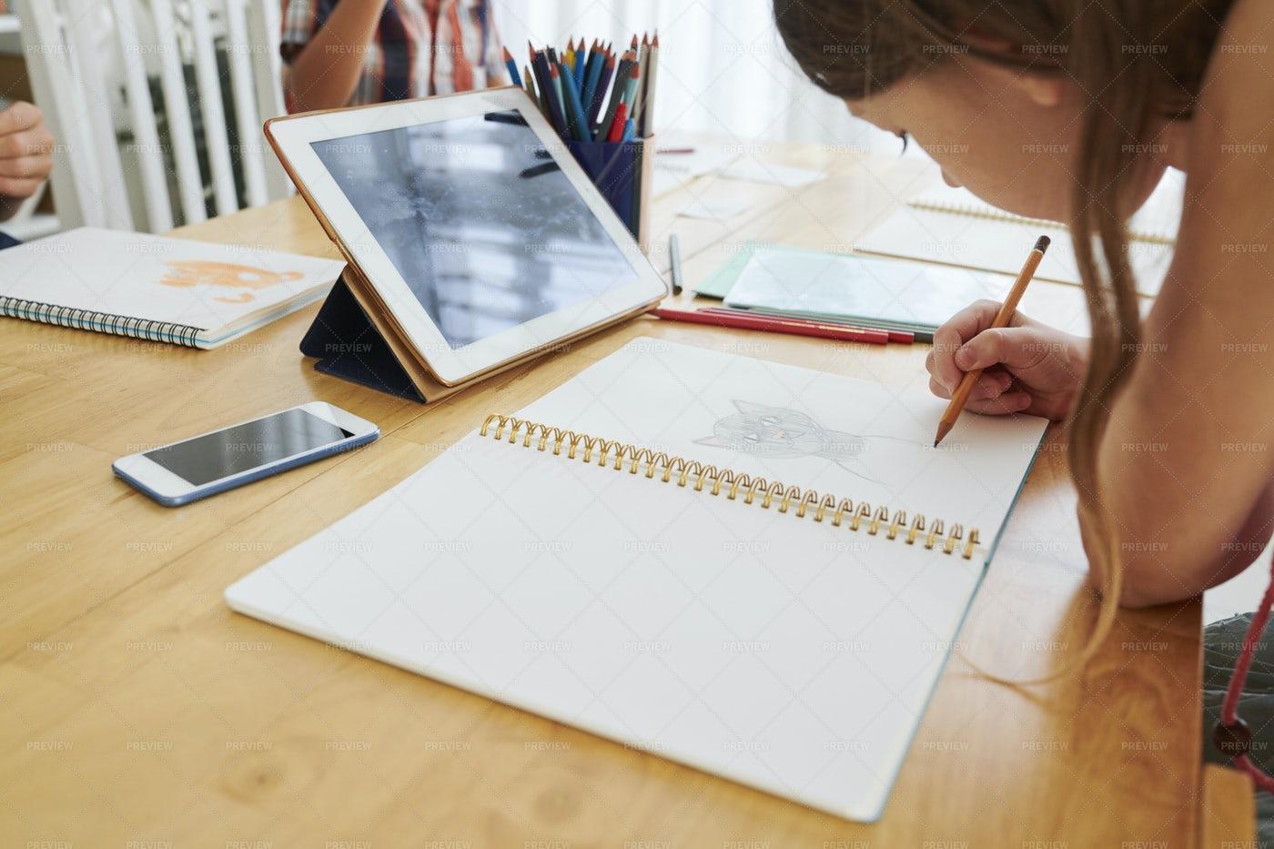 Schoolgirl Drawing Cat: Stock Photos