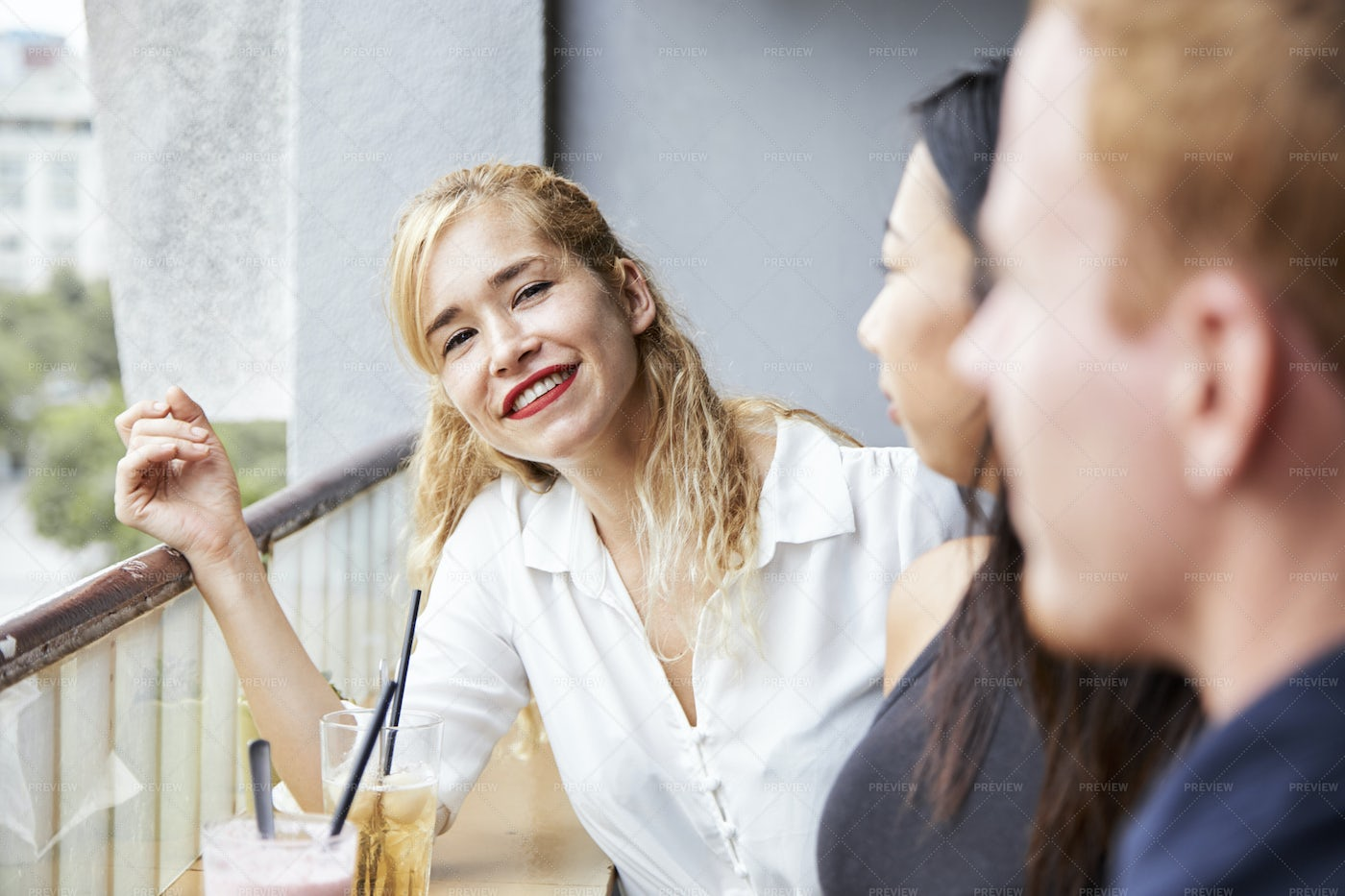 Woman Resting With Friends: Stock Photos
