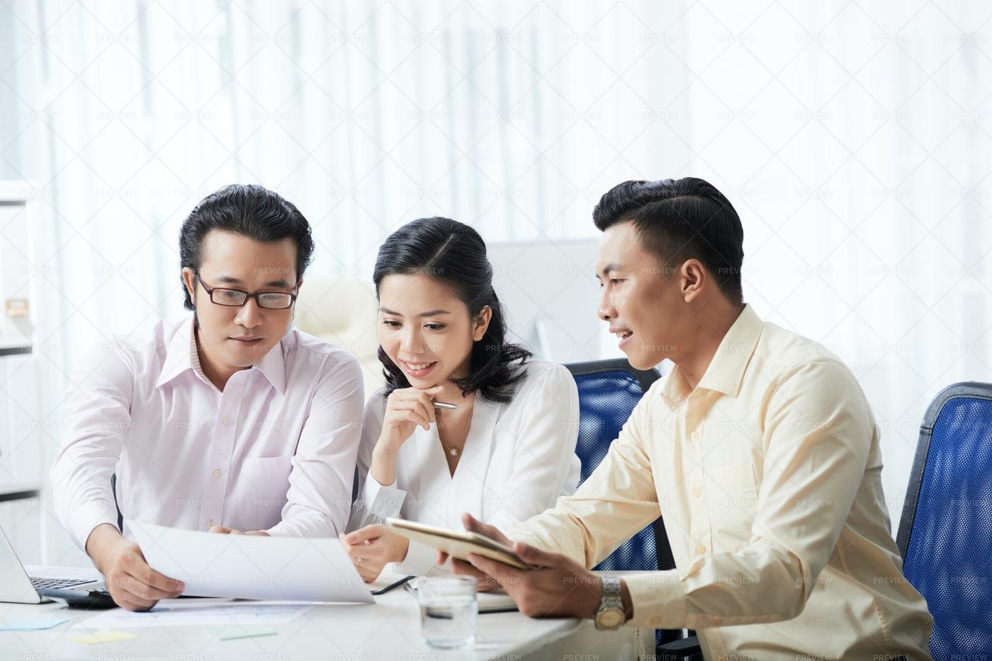 Teamwork During Business Meeting: Stock Photos