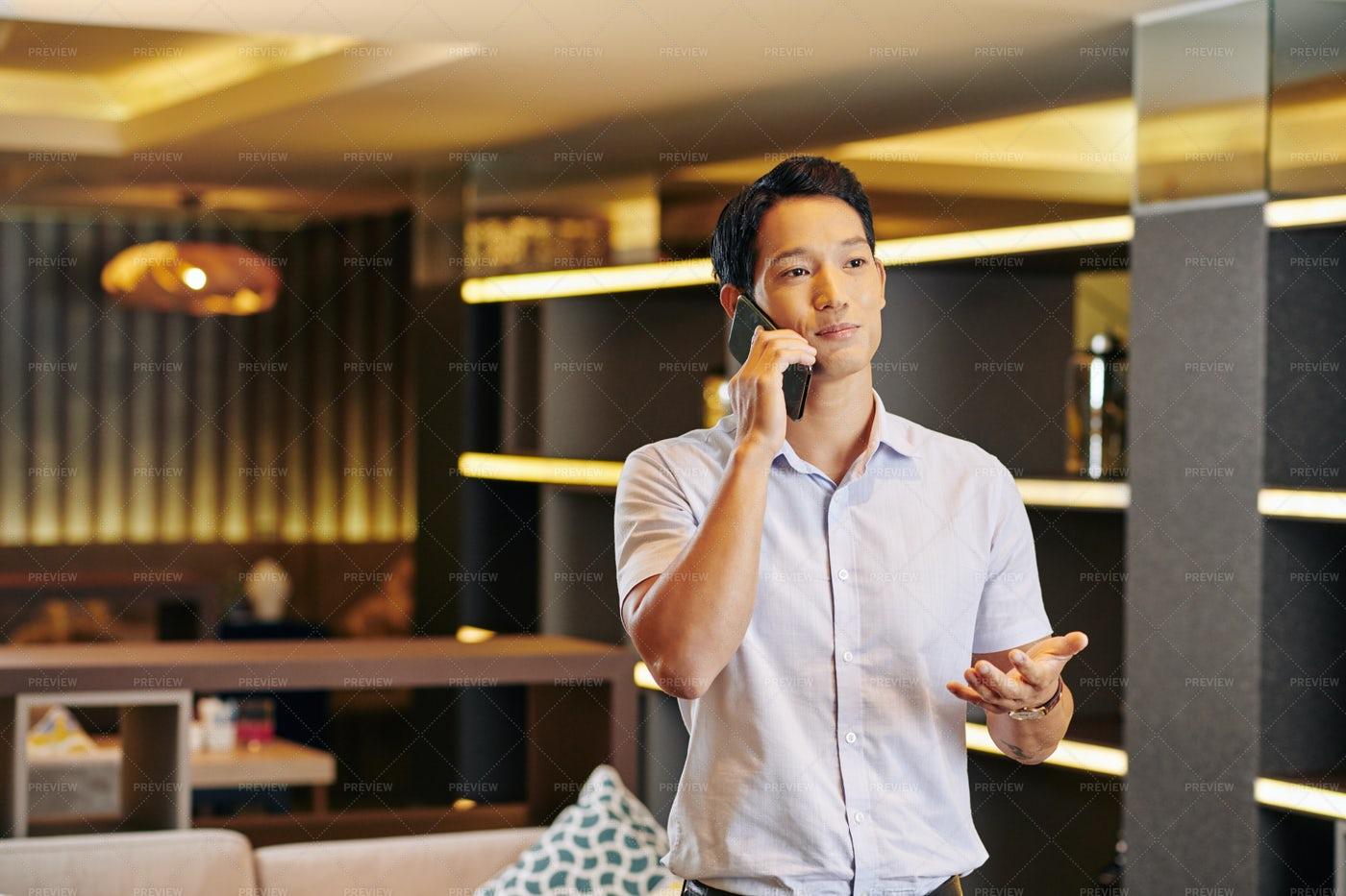 Positive Man Calling On Phone: Stock Photos