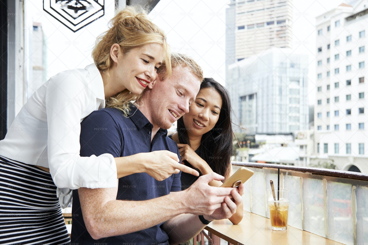 Friends Reading Text Message: Stock Photos