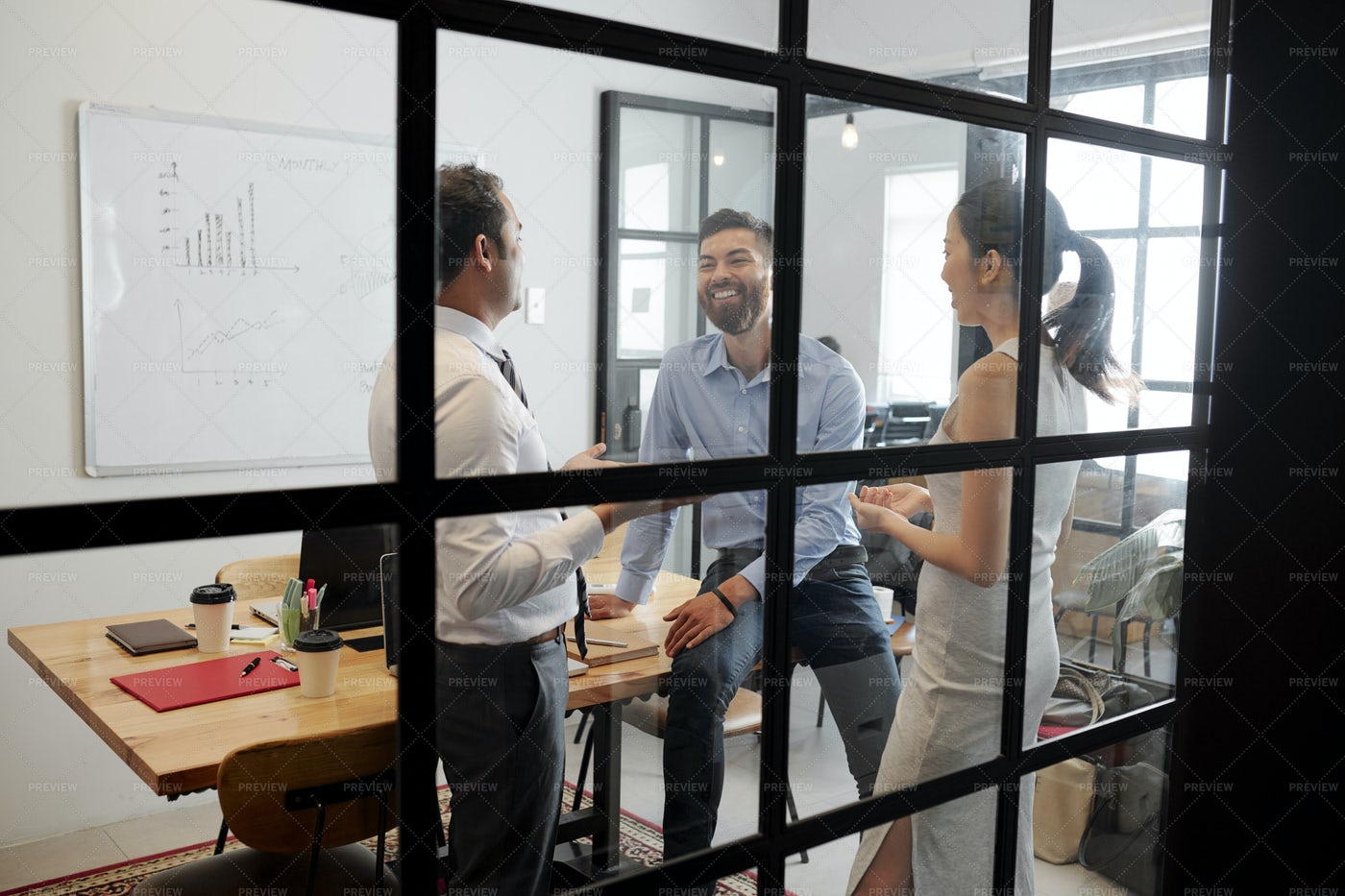 Teamwork At Modern Office: Stock Photos