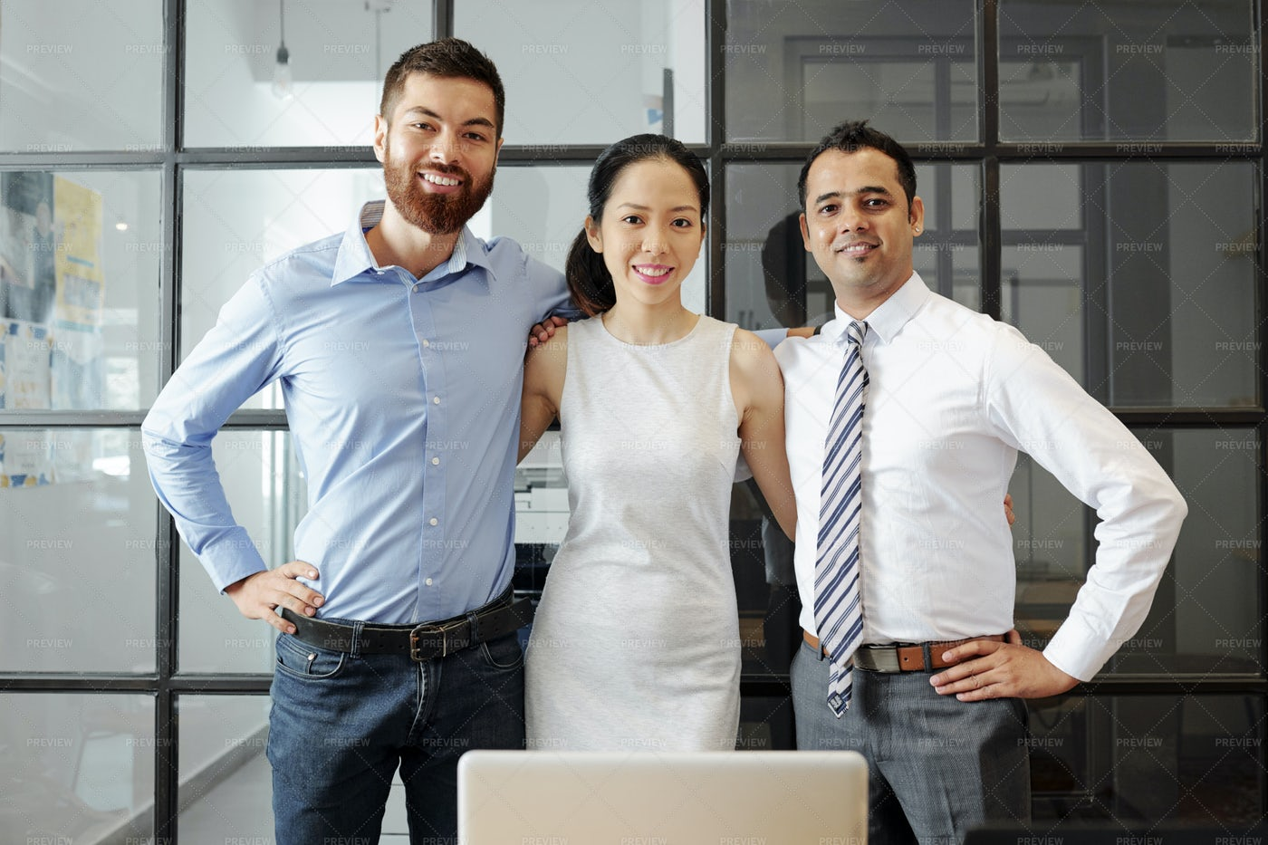 Successful Business Team Working At: Stock Photos