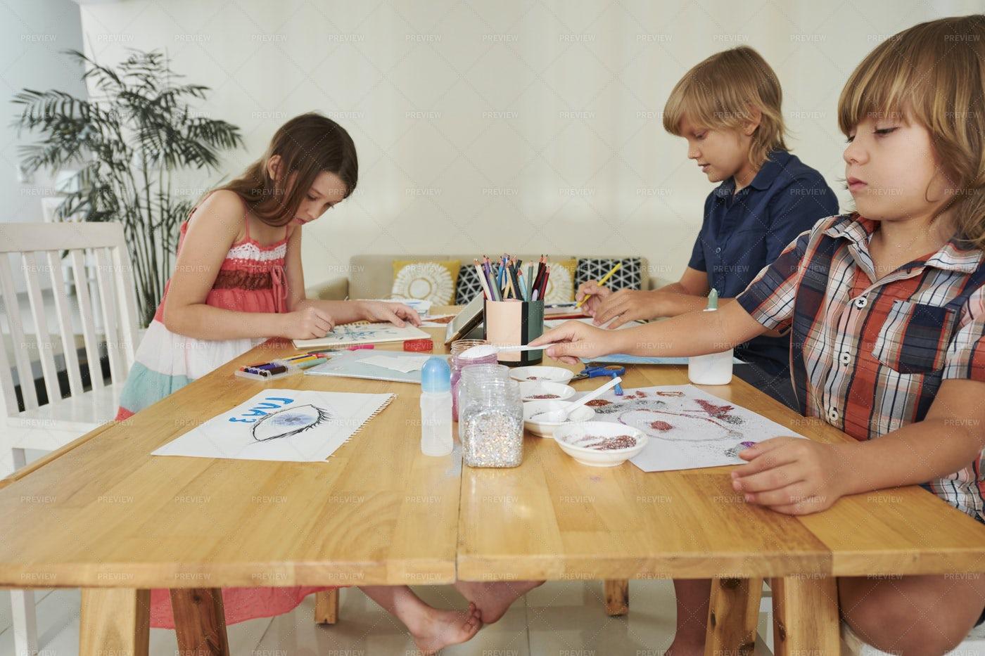 Creative Drawing Boys And Girls: Stock Photos