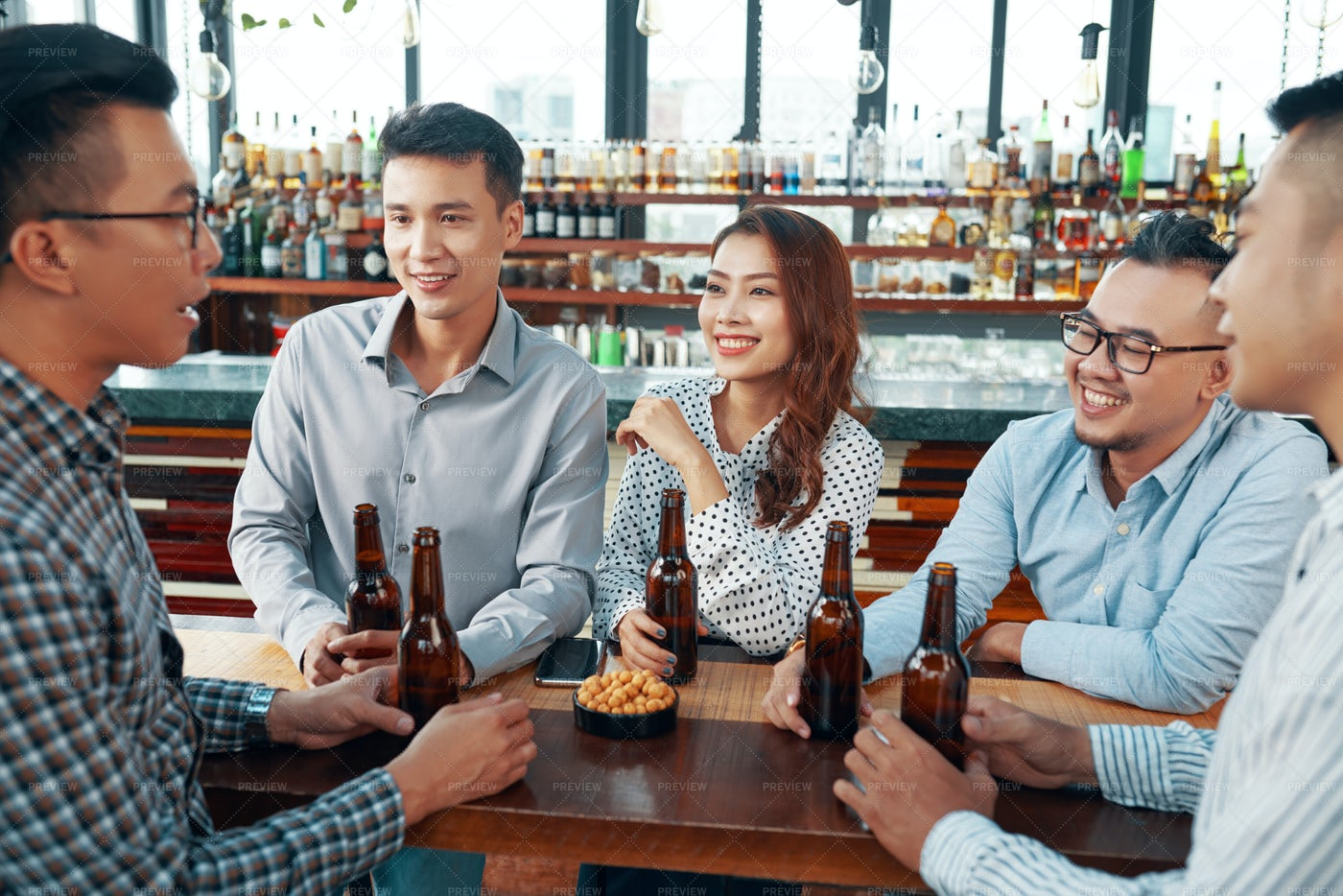 Group Of Business People At Bar: Stock Photos
