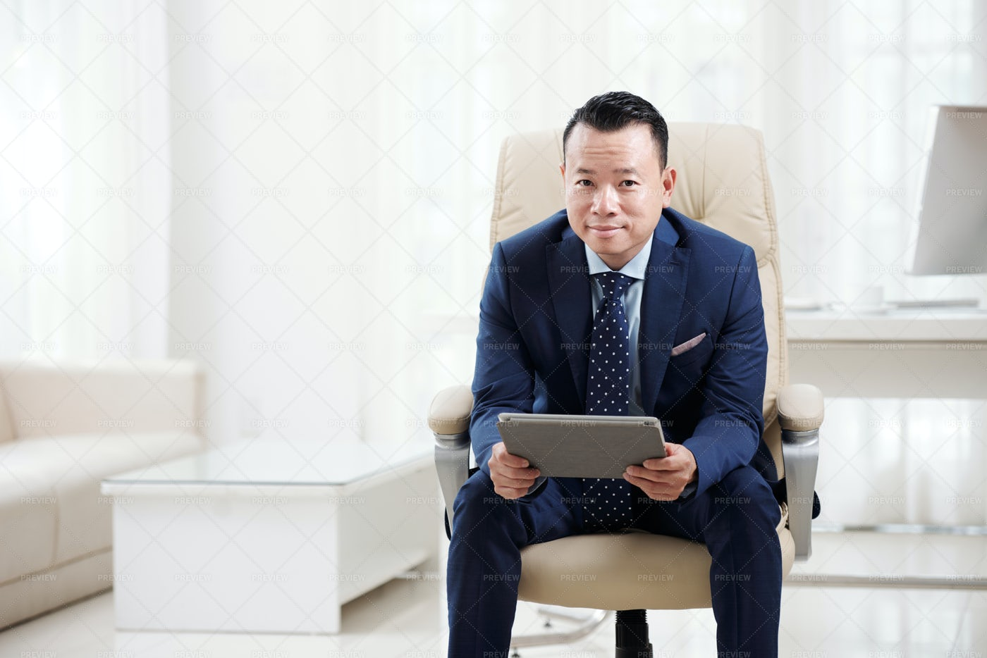 Businessman With Tablet Pc At Office: Stock Photos
