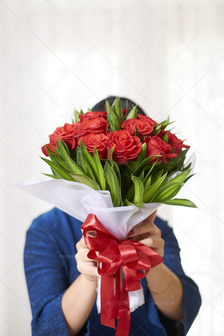 Woman Holding Beautiful Bouquet: Stock Photos
