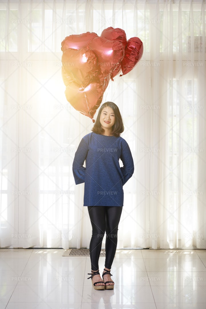 Happy Woman With Balloons: Stock Photos
