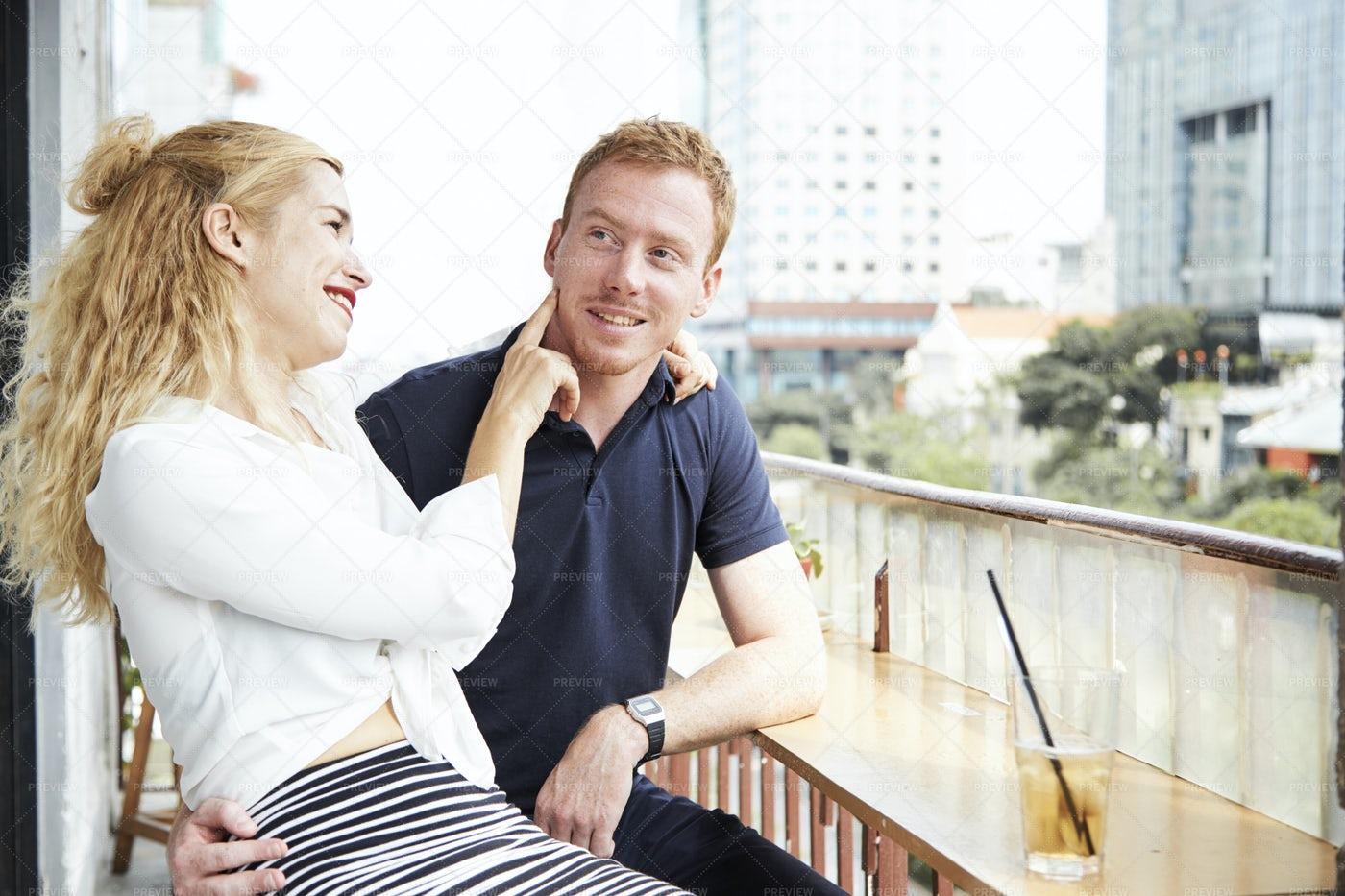 Couple Resting In Cafe: Stock Photos