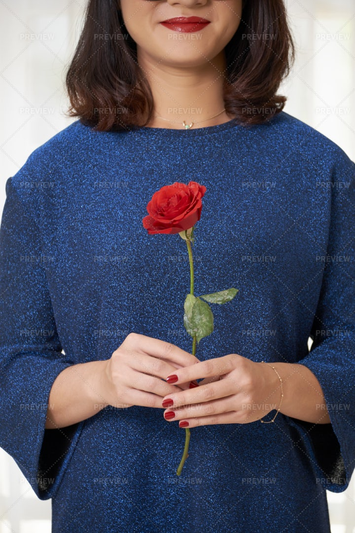 Woman With Red Rose: Stock Photos