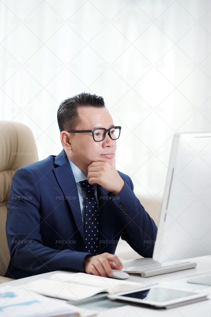 Businessman Busy Work On Computer: Stock Photos