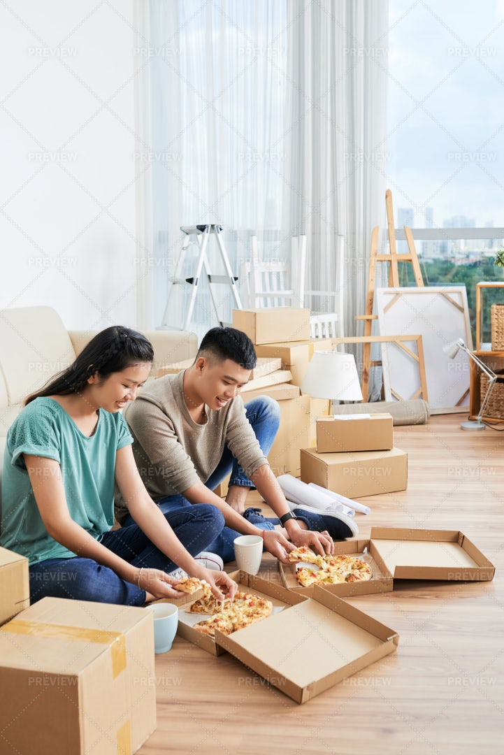 Couple Have Lunch At Home: Stock Photos