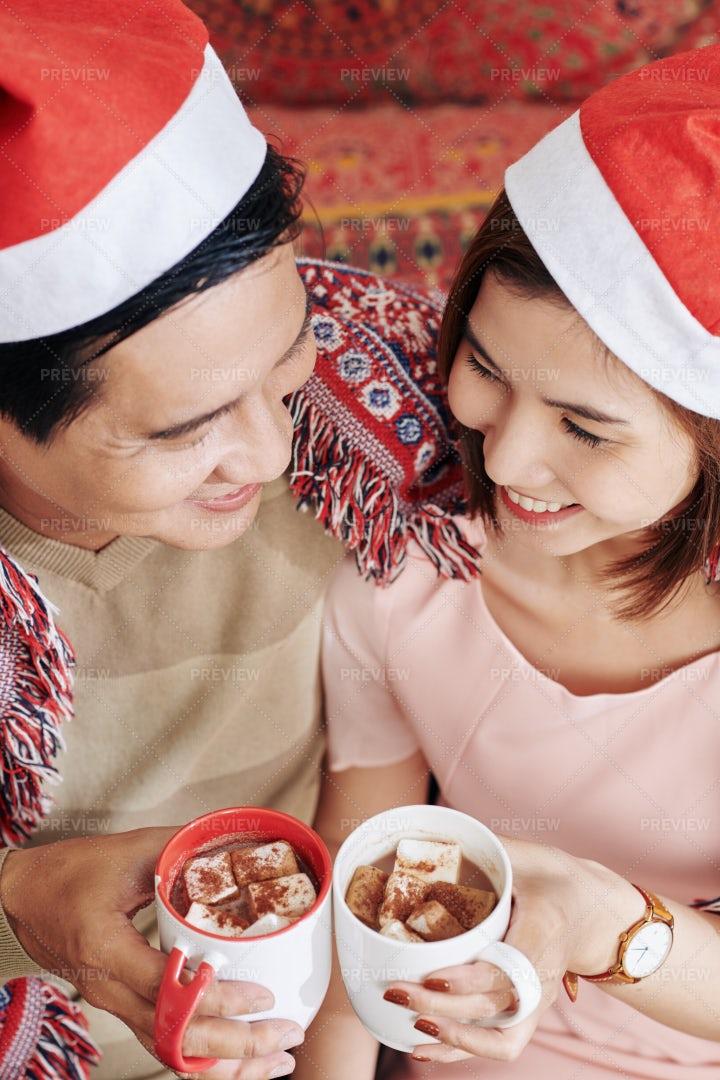 Couple Drinking Sweet Chocolate: Stock Photos