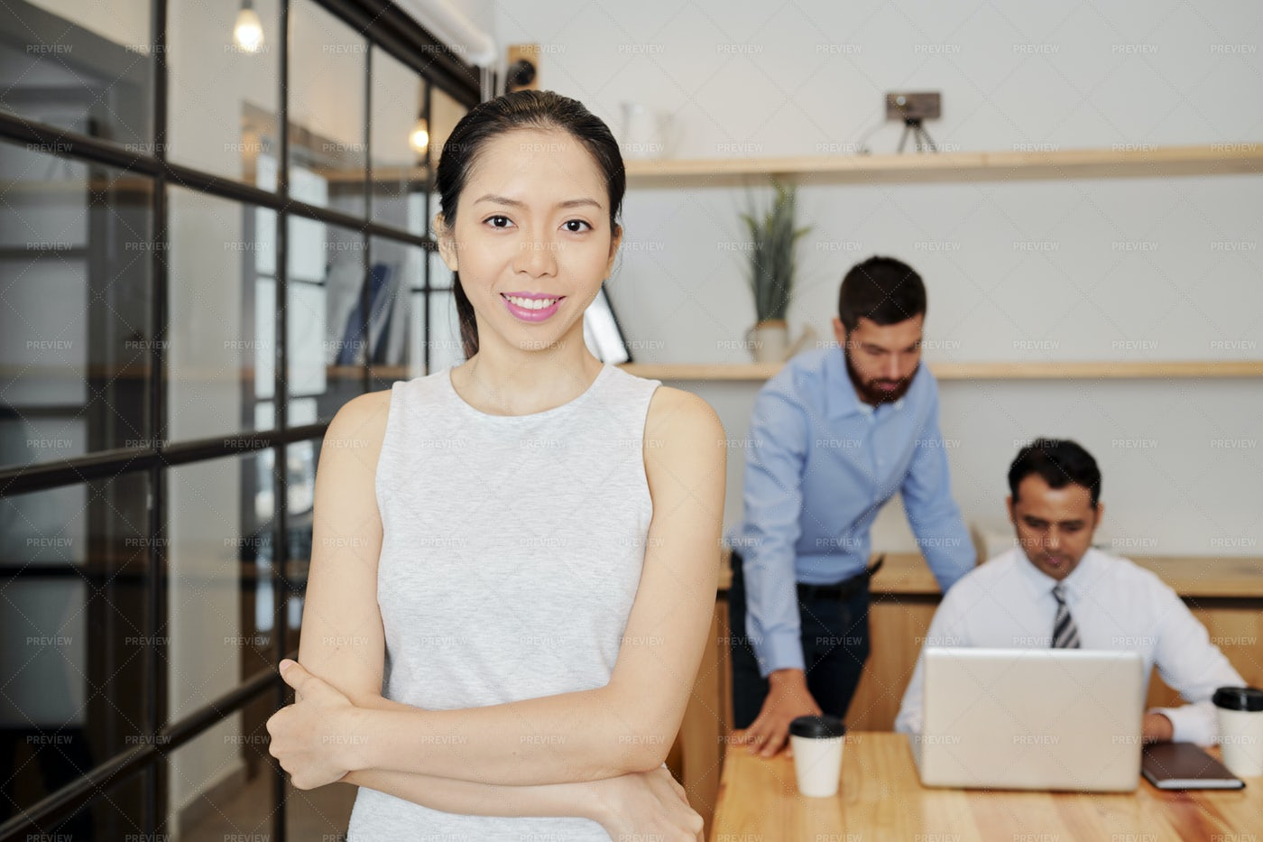 Businesswoman Working At Office: Stock Photos