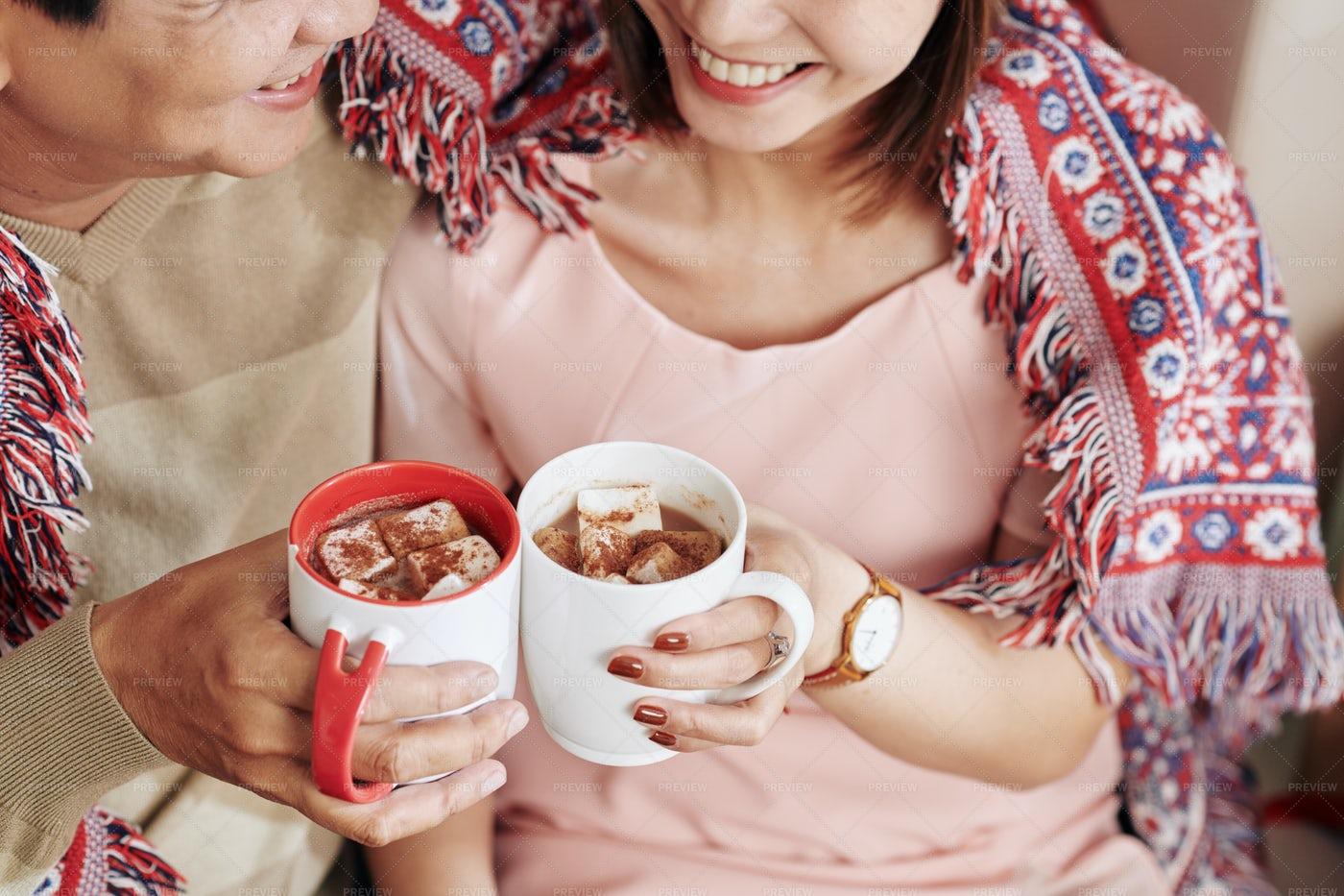 Couple Drinking Sweet Cocoa: Stock Photos
