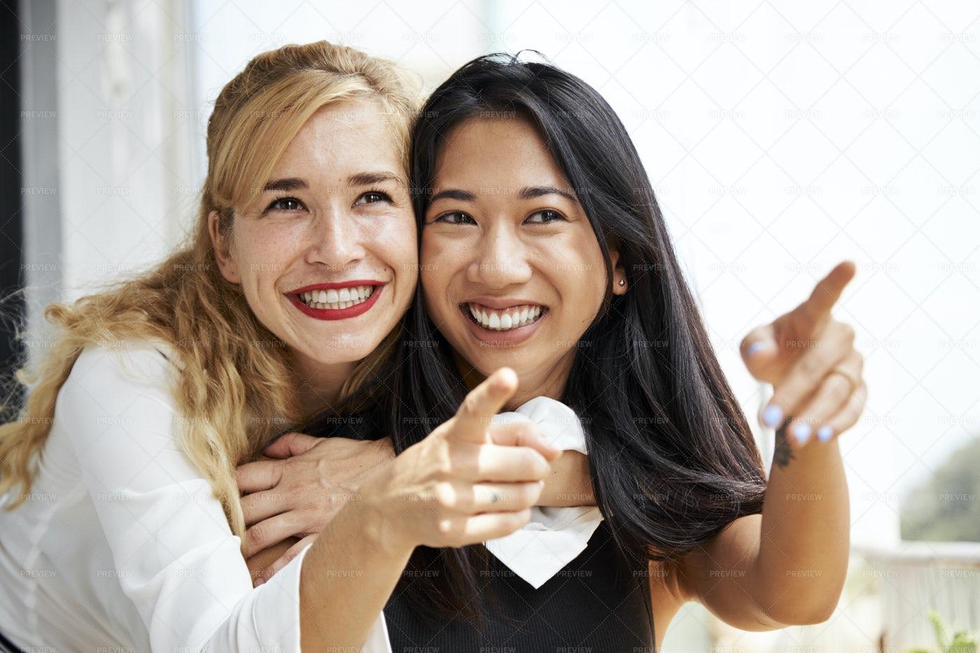 Happy Pretty Friends: Stock Photos